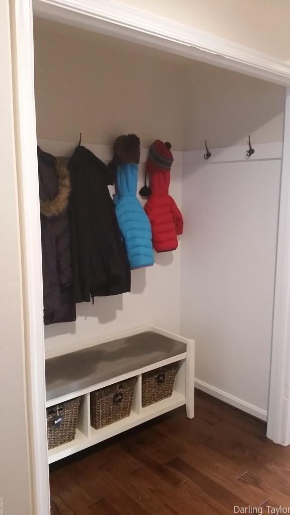 turn a closet into a mudroom