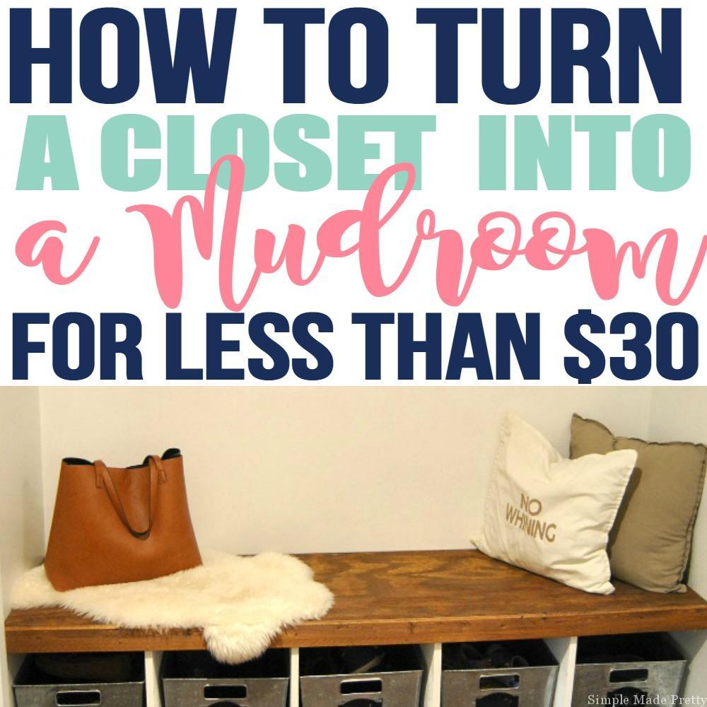 This DIY closet into a mudroom was so easy to do!