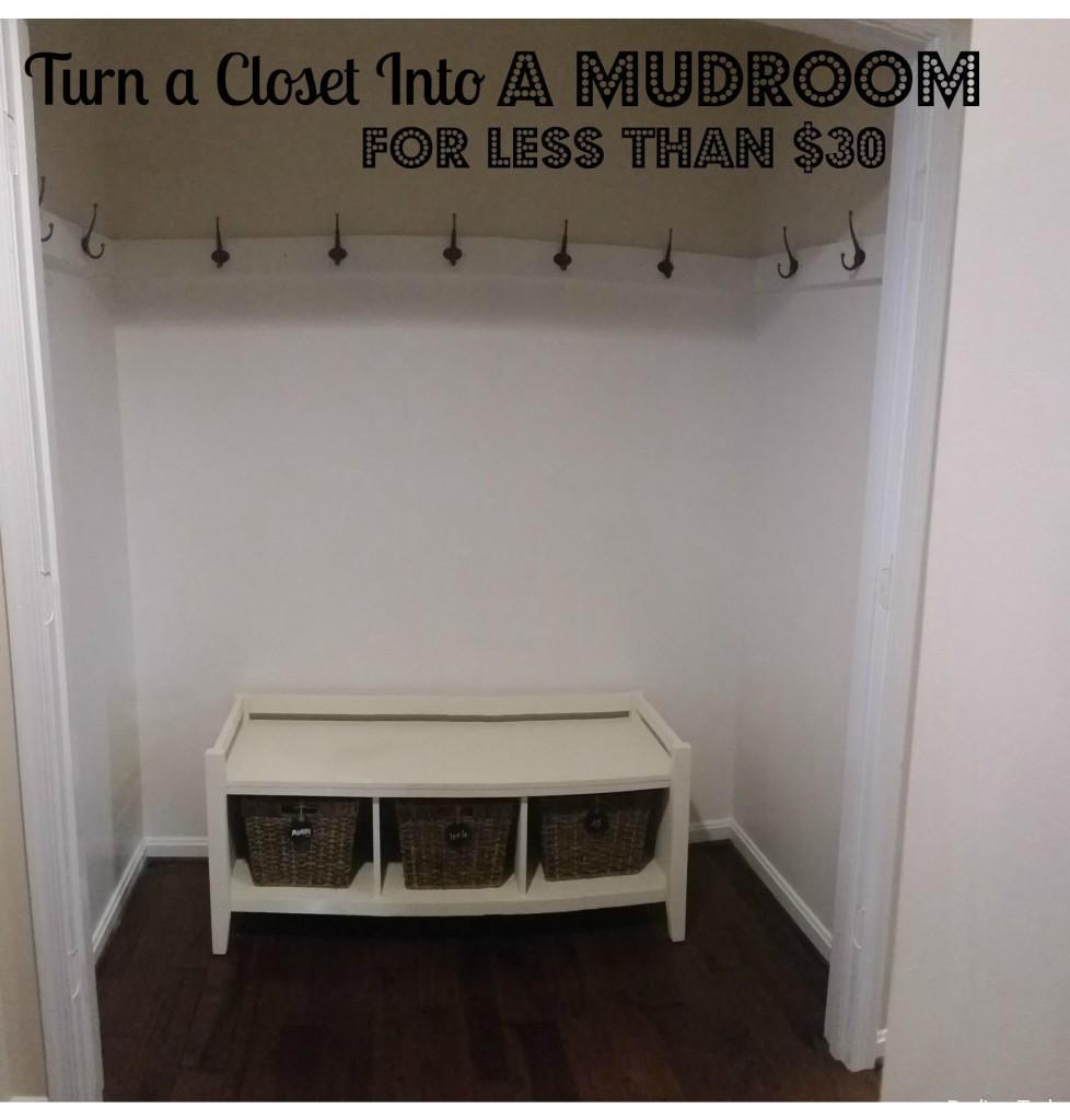 Create a mudroom in your home for less than $30. All you need are a few hooks, paint and a bench. Read to find out more!