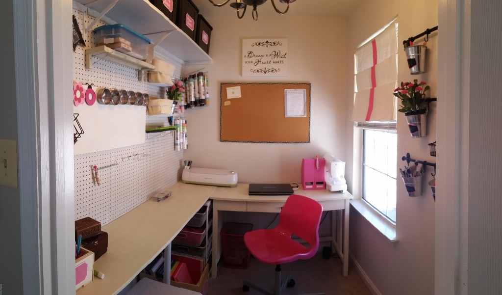 My craft room is the size of a closet, well literally it was a walk-in closet from the 4th bedroom in our home that we use as an office/guestroom. Complete with a window, AVAC Vent and electrical outlet - it was the perfect space for a craft room!