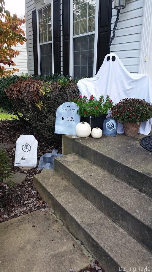 DIY cardboard tombstones