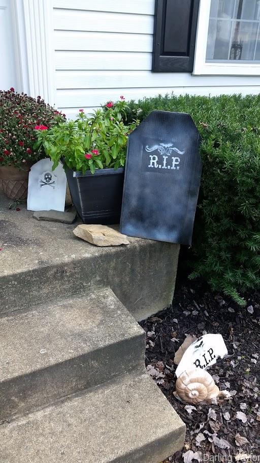 DIY cardboard Halloween Tombstones