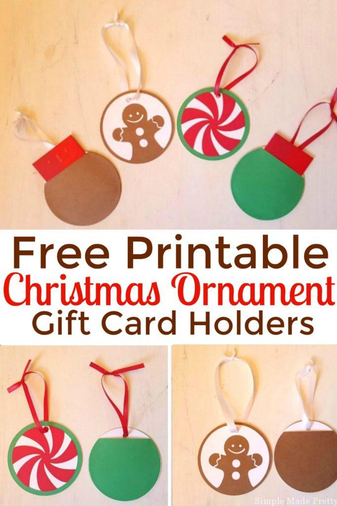 Need a last minute Christmas gift? Download and print these DIY ornament gift card holders for FREE! DIY Chrismas gifts, free printable, DIY gift card holders, Easy Christmas gifts, handmade Christmas gifts