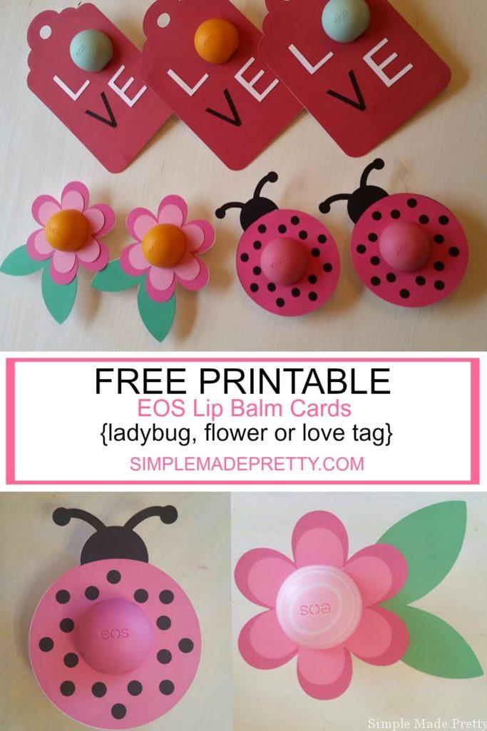 photograph regarding Printable Teacher Valentine Cards Free called Flower, Ladybug and Take pleasure in Tag EOS Lip Balm Playing cards as Electronic