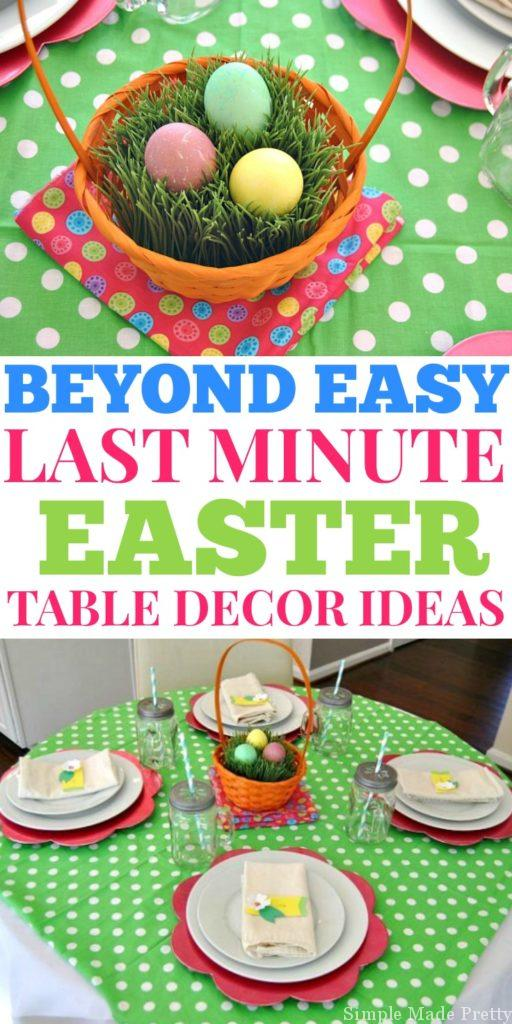 I'm sharing some budget-friendly and last-minute suggestions to make these Easy Last Minute Easter Tablescapes that Anyone Can Do (and a Free Printable!). Free Easter Printables, DIY Easter Tablespaces. Free Easter Table Decor, Dollar Store Easter Decor, Easter Table Decor
