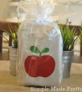 Apple gift bag teacher gifts - free stencil download