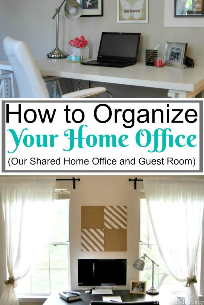 Having a functional home office can set you up for success in your business. I'm sharing How to Organize Your Home Office (Our Shared Office and Guest Room) so you can start working more productively! Office organization, organized office. guest room organization, workspace organization, organized workspace