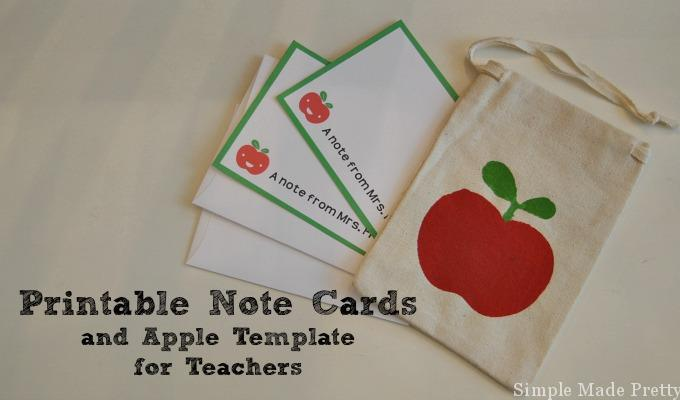 Printable Note cards and apple template for teachers