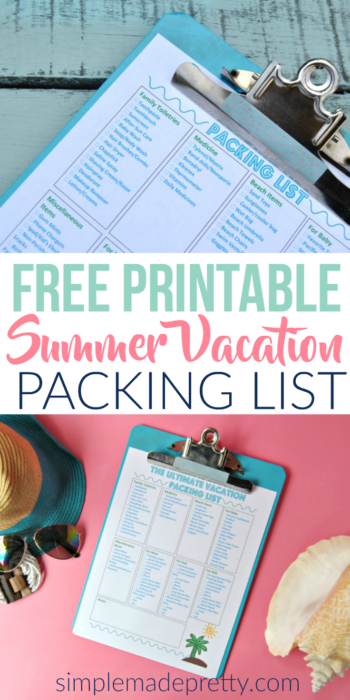 This summer vacation packing list came in handy for our kids packing list! She included some essential baby items when traveling with a baby during summer in the free printable.