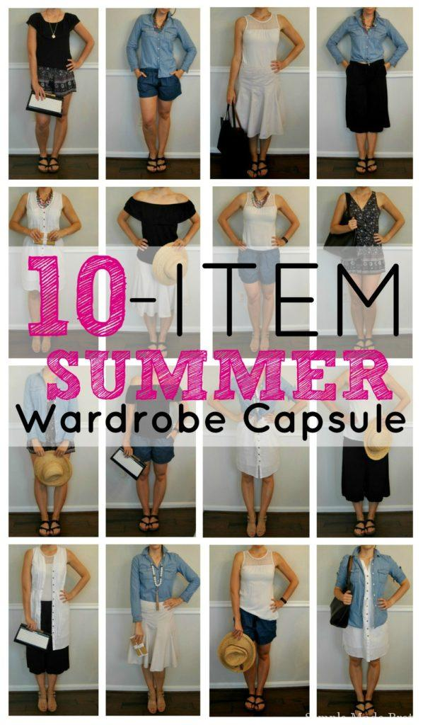 10 items, 16 looks - check out this summer wardrobe capsule. Minimalism, simple outfits, packing for summer vacation, 10 pieces