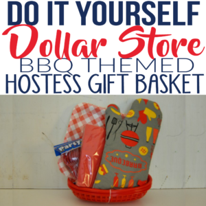 This Dollar Store craft idea is genius! I needed a hostess gift for a summer BBQ party and this was perfect! The host loved this DIY gift that was under $5 to make! If you are looking for gift basket ideas, try this one!