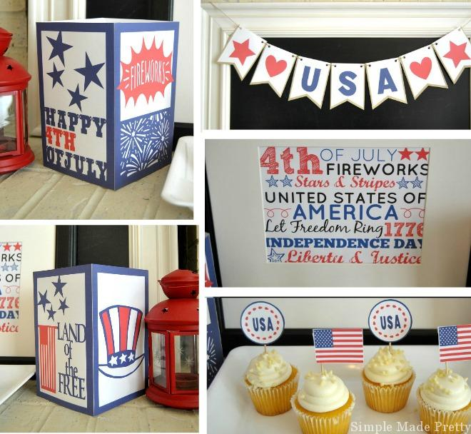 Complete your July 4th celebration with these printable cupcake toppers and lanterns to go tithe the banner and subway art!