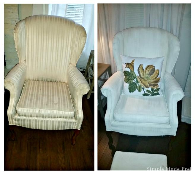 Before and After Painted Fabric Chair - ASCP