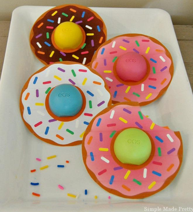 These Donut EOS lip balm cards are the perfect party favors for a Donut party, bridal shower, baby shower, teacher gift, Valentine, Mother's Day or Easter!