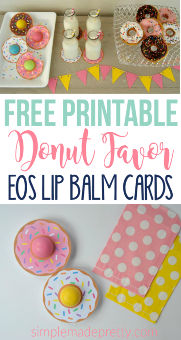 I love this donut gift idea! So far I've used the Free Printable Donut EOS Lip Balm Cards as party favors for a Donut party, bridal shower favors, baby shower favors, teacher gift idea, Valentine for coworkers, and Mother's Day gift!