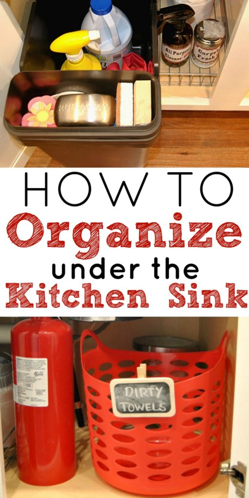 These simple tips and tricks will show you how to organize under the kitchen sink while reducing the clutter in your kitchen. Kitchen organization, how to organize kitchen cabinets, under the sink, cleaning product, organize cleaning products, reduce clutter