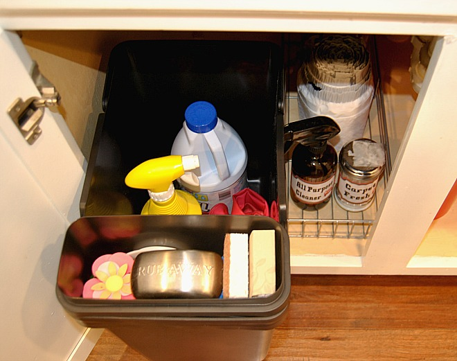 How to organize under the kitchen sink simple made pretty for Best product to remove grease from kitchen cabinets