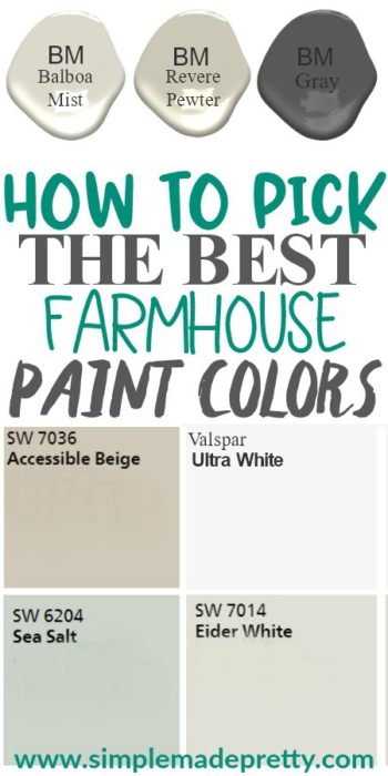 These are the most popular farmhouse decor paint colors this year! Farmhouse interior colors, farmhouse decor, Sherwin Williams farmhouse colors, farmhouse colors pictures, Benjamin Moore farmhouse colors, kitchen farmhouse colors, Joanna Gaines farmhouse colors, neutral paint colors, gray paint colors, 2019 paint colors, fixer upper paint colors, white paint colors, best paint colors for small spaces