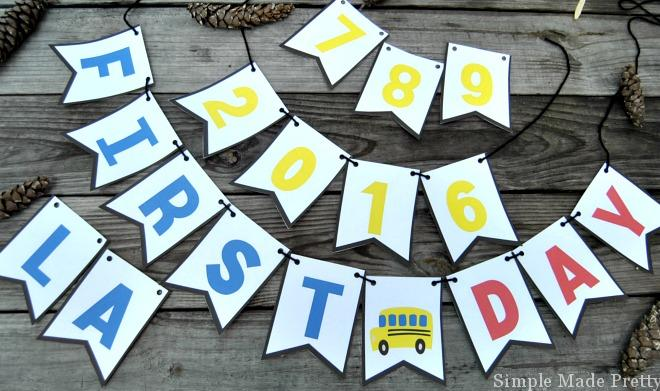 "This Free Printable First Day and Last Day of School Bunting includes extra flags so you can take ""FIRST DAY"" and ""LAST DAY"" pictures with extra years!"