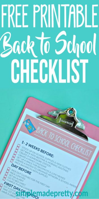 We added this free printable back to school checklist to our back to school bulletin board. It helped us remember things like getting school supplies together, school lunch, and to be ready for first day of school photos!