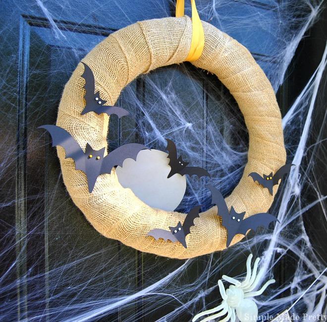 DIY No Sew Bat Wreath for Halloween