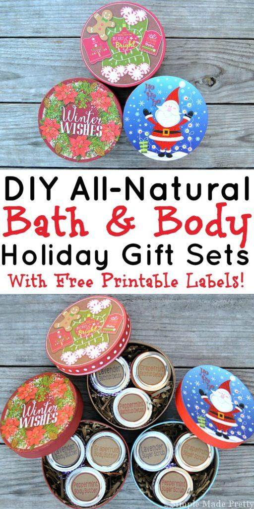 These 3 easy DIY all-natural bath and body gift sets are made with essential oils and all-natural ingredients. If you like making handmade gifts or use essential oils (or are thinking about using them) keep reading for how to make an all-natural beauty products gift set to give to loved ones (perfect for holiday gifts too!). Download the free printable labels to create an easy handmade gift for the ladies in your life! Grapefruit bath tub detox, grapefruit sugar scrub, grapefruit body butter, Peppermint bath tub detox, peppermint sugar scrub, peppermint body butter, lavender bath tub detox, lavender sugar scrub, lavender body butter