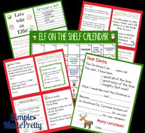 Elf on the shelf ideas, elf on the shelf calendar and printables