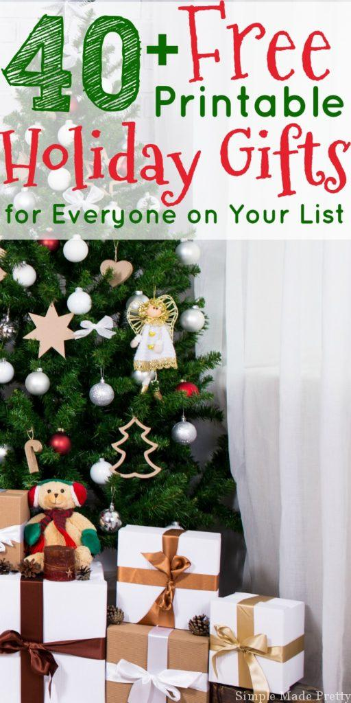 40+ Free Printable Holiday Gifts for Everyone on Your List! DIY holiday gifts, Free printable Christmas gifts, DIY Christmas gifts, Make Christmas gifts, Christmas printables,