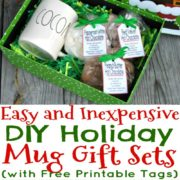 3 Easy and Inexpensive DIY Holiday Mug Gift Sets (with Free Printable Tags)