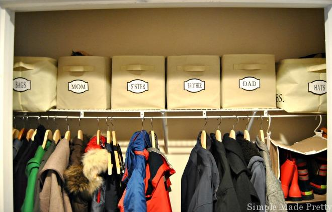 If you don't have a dedicated space to organize entryway items, this post is for you! These simple tips and tricks will show you How to Organize and Simplify Your Entryway to reduce the clutter in your home in no time! mudroom organization, coat closet organization, organized closets, organize coat closet, organize mudroom, diy mudroom, turn a closet into a mudroom