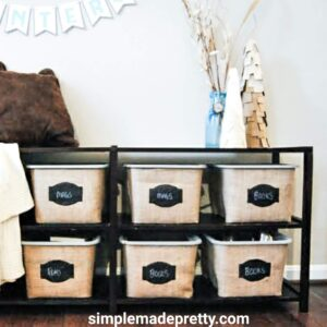 Dollar Tree Burlap Bins