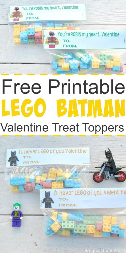 These free printable Lego Batman Valentine Treat Toppers are perfect for superhero lovers to hand out to classmates! Lego Batman movie, Lego Batman, Lego Robin, Batman movie, Batman Valentine, Printable superhero valentines, free printable Valentines, free printables