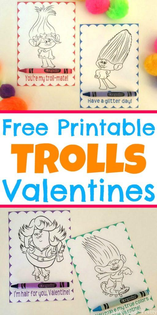 Free Printable Trolls Movie Valentine Coloring Cards Simple Made – Free Printable Coloring Valentine Cards