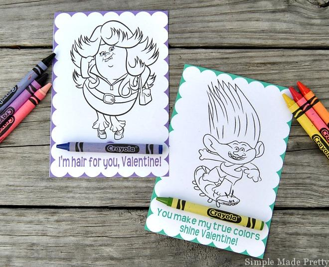 Grab these free printable trolls movie Valentine coloring cards for the kids to hand out to classmates. These are so easy to make and the kids will love them! Trolls movie, free printable Valentines, Trolls Valentines, DIY Valentines, Trolls Movie, Dreamworks Trolls, Trolls, printable Valentines