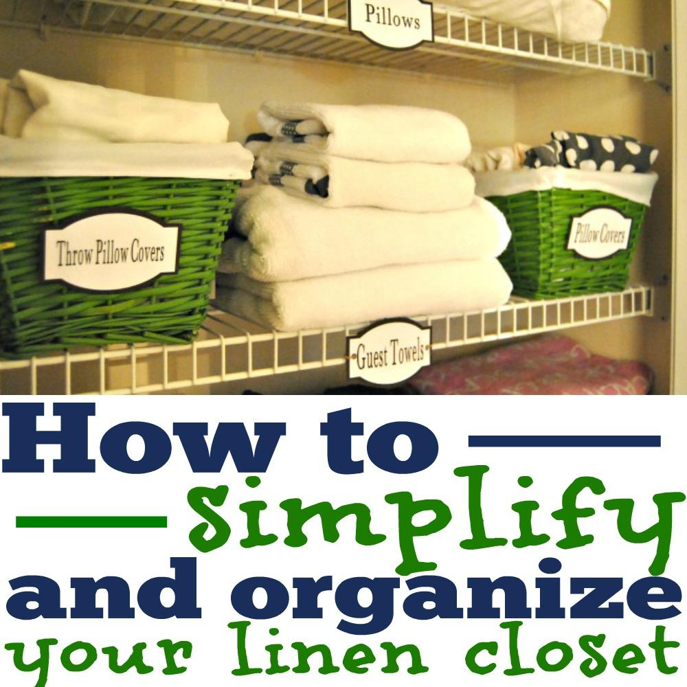 Your linen closet probably has more towels and bed sheets than you really need. Let's talk about what is essential so you can simplify and organize your linen closet like a pro!, organize your home, home organization, organized, labels, printable labels, labels to organize, linen closet labels