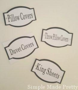 Our printable linen closet labels are perfect to use in any home. The design, shape, and color can work with any home. Print on white card stock for a clean look or print on your preferred colored card stock to match the decor of your home. The labels can be adhered to baskets/bins/wire shelves or hole punch the sides and string ribbon/yarn/twine to tie to baskets/bins/wire shelves. PDF File Includes (3 labels per page on 7 pages = 21 total labels): - Guest Towels (1) - Guest Linens (1) - Dog Towels (1) - Twin Sheets (1) - Queen Sheets (1) - King Sheets (1) - Duvet Covers (1) - Pillow Covers (1) - Beach Towels (1) - Throw Pillow Covers (1) - Pillows (1) - Toiletries (1) - Medicine (1) - Soap (1) - Dental Care (1) - Hair Care (1) - First Aid (1) - Cleaning Supplies (1) - Feminine Items (1) - Makeup (1) - Blank Label - write whatever you want (1) Print as many as you like after downloading the file and use over and over!