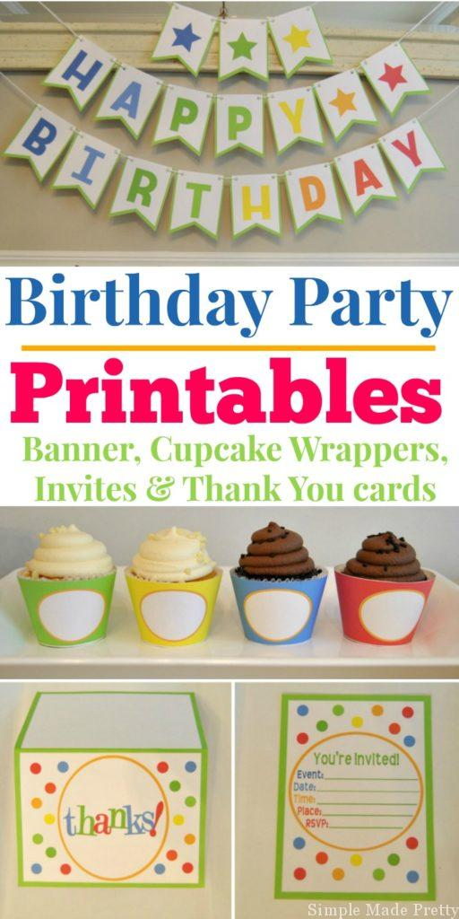 These Printable Birthday Party Decorations for Girls or Boys perfect to use for all your upcoming birthdays! Birthday printables, Birthday party printables, digital download birthday, boys birthday ideas, girls birthday ideas, party supplies, party printables