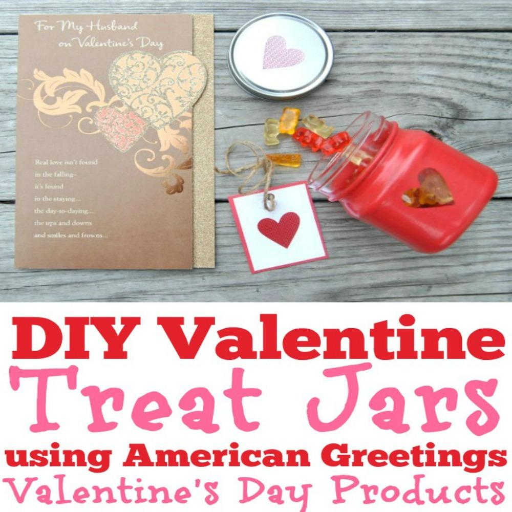 Here are some DIY Valentine Treat Jars using American Greetings Valentine's Day Products! DIY Valentine's Day gift, Romantic Valentine's Day gift, Free Printable Valentine, Printable Valentine tags, Printable Valentine Cards, American Greetings #MyTuesdayValentine #ad