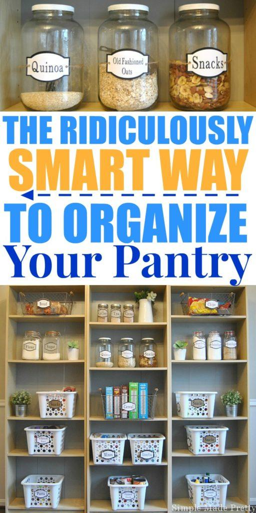 "The pantry is crucial to keep organized on a regular basis, food illnesses are no joke! There is also the issue of food waste, buying unnecessary items because you already had it in your pantry but forgot about it or it's pushed to the back and expired. According to World Food Day ""In the USA, 30-40% of the food supply is wasted, equaling more than 20 pounds of food per person per month."" Let's try to reduce our food waste by eliminating food items we do not eat or care for. Here's How to Organize and Simplify Your Kitchen Pantry. Get organized, de-clutter, kitchen organization, organize the pantry, organized kitchen, pantry labels, free printable food labels, pantry jar labels, printable labels"