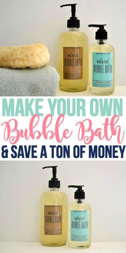 My kids take baths every night and after spending a ton of money on it, I decided to make my own and it was so easy! Plus the ingredients are all-natural so this bubble bath is free of chemicals