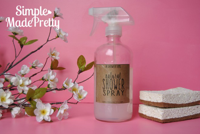 Get the printable label for this natural homemade shower spray cleaner. Stop using or buying shower Spray loaded with chemicals and save a ton of money by making your own shower spray!