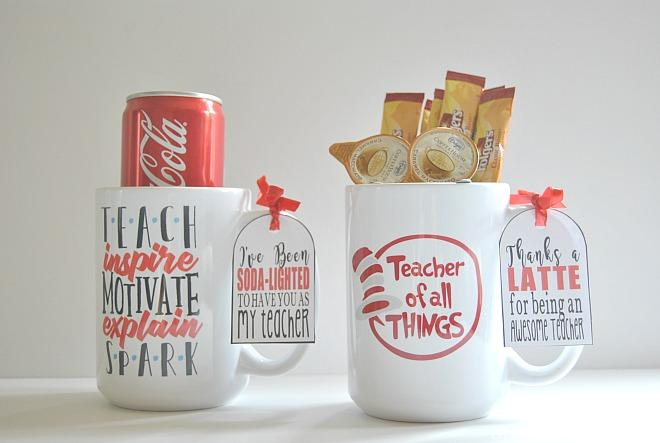 Teachers deserve to be reminded of the impact they have on a child's life. That's why I decided to give our kid's teachers personalized mugs for teacher appreciation gifts this year. I found some awesome teacher mugs from Crazy Cool Mugs that I know our teachers will love. I got creative and included some goodies in each mug, along with a cute pun gift tag. Keep reading for how to make these 5 Genius DIY Teacher Mug Gift Ideas with Free Printables - Crazy Cool Mugs.