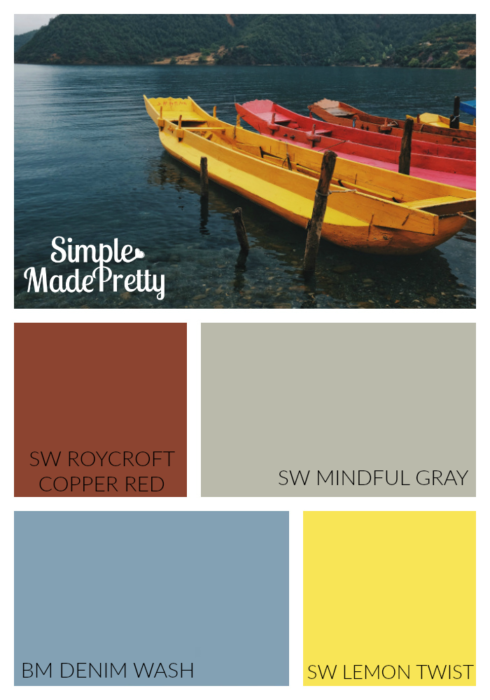 These are the colors of our son's bedroom. These paint colors are perfect for a superhero boy themed bedroom or sports themed boys bedroom. Paint the room gray and add the other colors as accent colors.