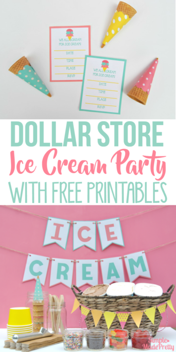 This ice cream party bar was really cheap to put together for my daughter's birthday! I used her Dollar Store hacks and you would never know how inexpensive our ice cream birthday party was to pull together! She has a free printable party checklist which was really helpful when shopping,