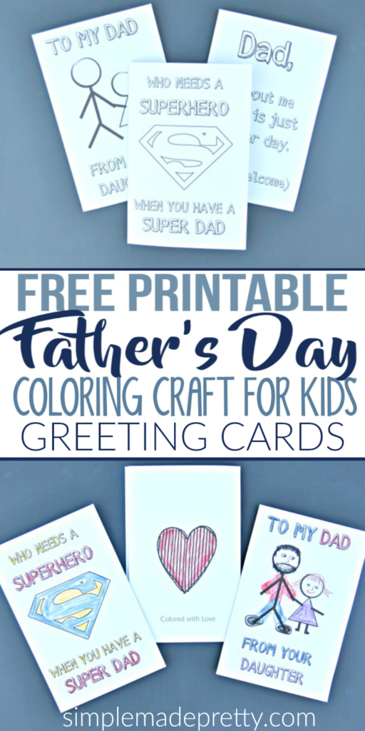 free printable fathers day greeting cards coloring craft for kids - Free Printable Coloring Pictures