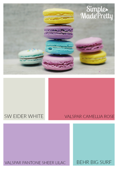 These are the paint colors for my daughter's bedroom. If you are looking for fun paint colors for a girl's bedroom, check out this post for more ideas!