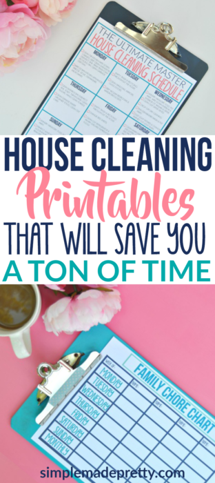 Grab the home cleaning printables to clean your house in no time using these clenaing hacks! This house cleaning checklist will save you a ton of time and is a stress-free way to get your home clean! The printable chore chart is perfect for everyone in the family, including kids and adults to help clean the home!