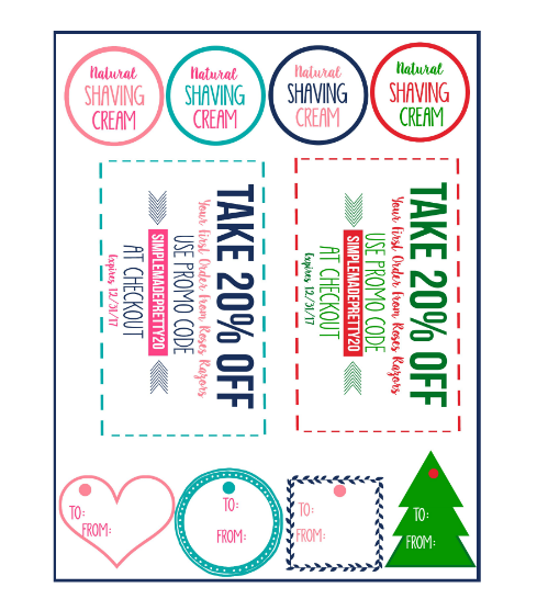 Free printable labels and coupon to create a fun razor gift basket for women