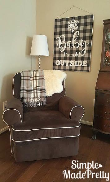 DIY buffalo plaid Christmas decorations, free printable Baby it's cold outside home decor print
