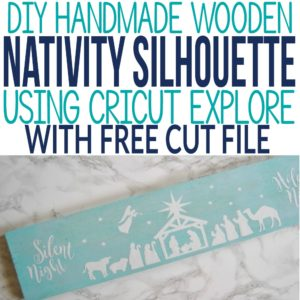 This nativity silhouette on wood is free to cut in Cricut Design Space. Grab the link to the free nativity silhouette template to make this easy rustic Christmas decor DIY idea. I made nativity scene for our Christmas mantle decor and it turned out beautiful.
